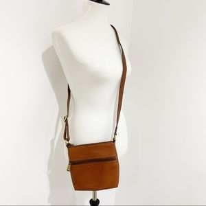 Fossil Voyager Crossbody Bag Small Brown Leather